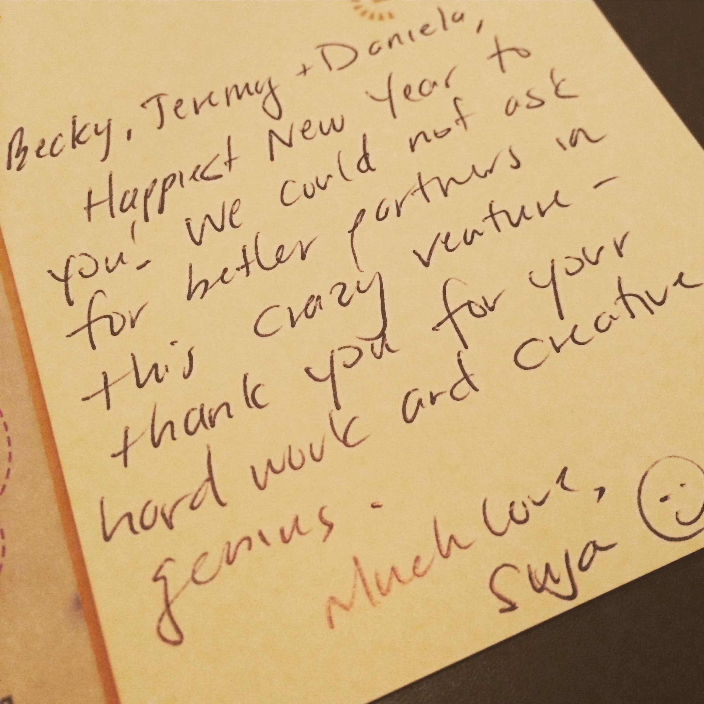The best gift a client could give. Thank you for the sweet note. We are so lucky!